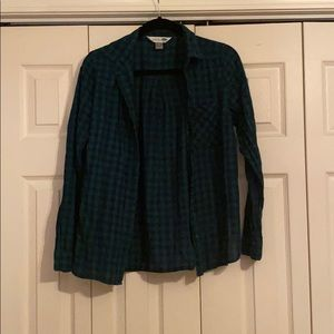 Women's cotton button down. Green and blue plaid